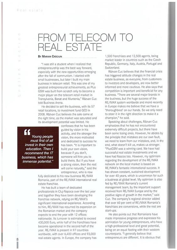 Business Arena - From Telecom to real estate - dec2014 (1)