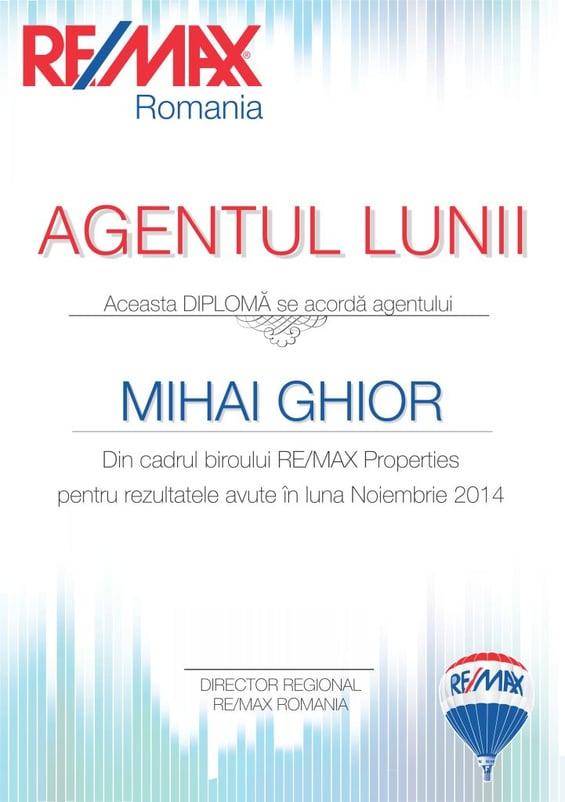diploma agentul lunii MIHAI GHIOR